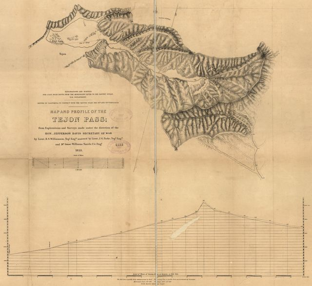 Map and profile of the Tejon Pass : from explorations and surveys /