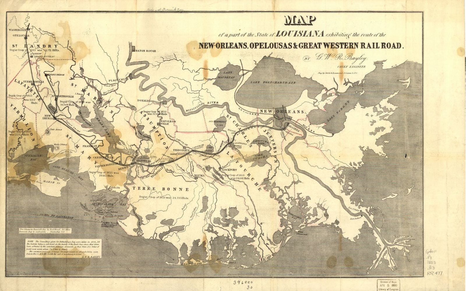 Map of a part of the State of Louisiana exhibiting the route of the New-Orleans, Opelousas & Great Western Rail Road.