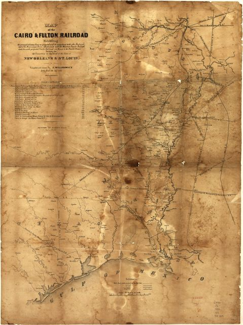 Map of the Cairo & Fulton Railroad exhibiting the principal tributary lines as projected and its connections with other railroads west of the Mississippi River, which unite with the Missouri Pacific Railroad, and south projected Pacific Railroad via Elpaso [sic] to the Pacific Ocean, showing also the connection by rail road of the cities of New Orleans & St. Louis. Little Rock, Ark. Sep. 1853.