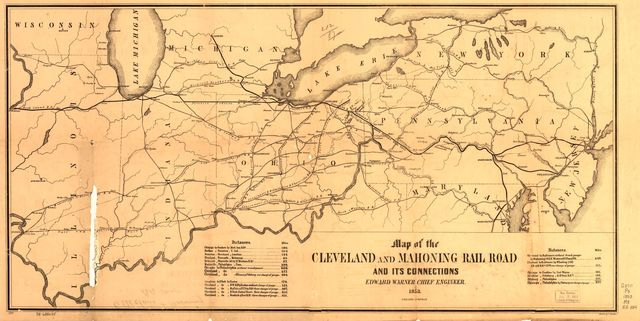 Map of the Cleveland and Mahoning Rail Road and its connections, Edward Warner Chief Engineer, 1853.