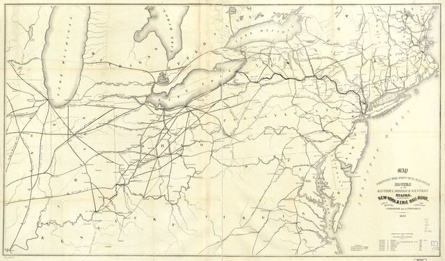 Map shewing the principal rail-road routes in the eastern, middle & western states, & exhibiting the New-York & Erie Rail-Road, with its branches and connections, completed or in progress.