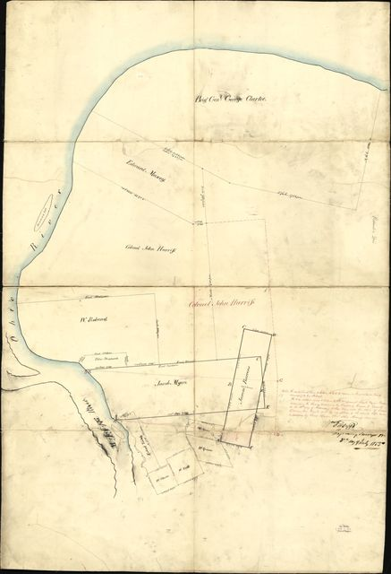 [Map showing conflicting grants at the junction of the Ohio and Mississippi rivers, especially property in the names of Colonel John Harris, Jacob Myers, and James Barrens].