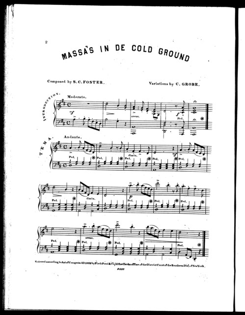 Massa's in de cold ground, op. 367