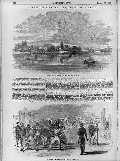 "[Md. - Annapolis - U.S. Naval Academy, 1853: (2 scenes - ""general view"" and ""interior of the Battery - battery practice and fencing"")]"