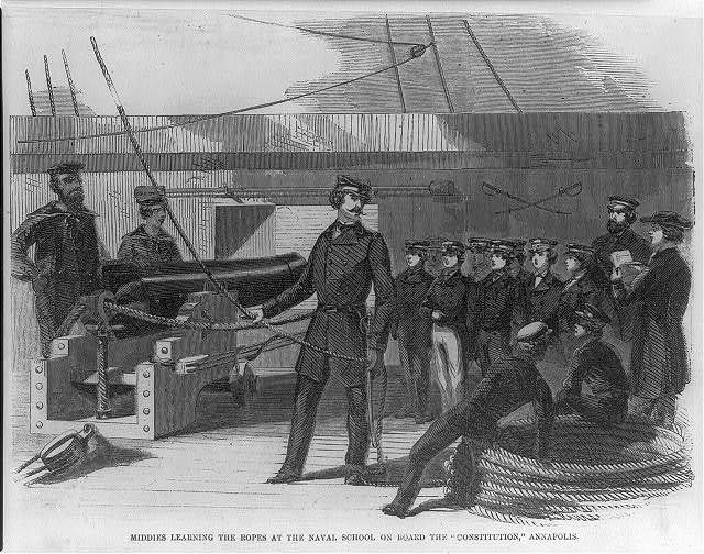 "[Md. - Annapolis - U.S. Naval Academy, 1853: ""Middies learning the ropes...on board the CONSTITUTION]"