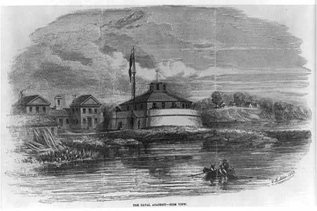 [Md. - Annapolis - U.S. Naval Academy, 1853: view of the Battery from river]