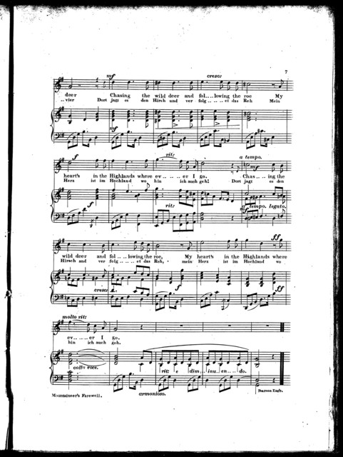 Mountaineer's farewell, Mein herz ist im hochland, op. 9