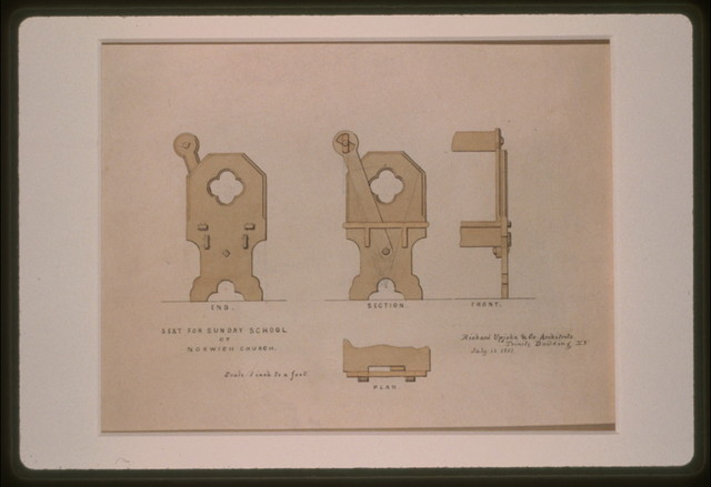 [Norwich Church (Norwich, Connecticut). Sunday School. Seat. Elevations, plan, and section] / Richard Upjohn & Co., Architects, Trinity Building, N.Y.