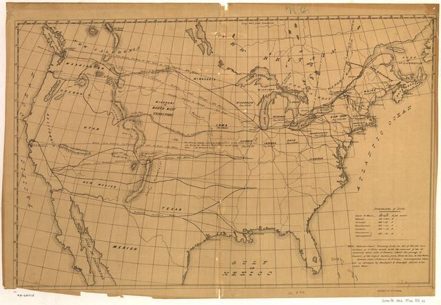 [Outline map of the United States showing proposed railroad routes to the Pacific].