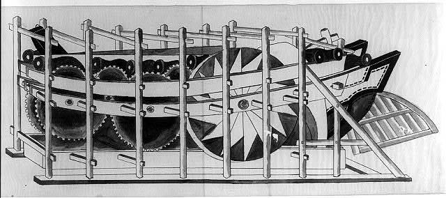 [Paddle wheel mechanism of side-wheel steamer]