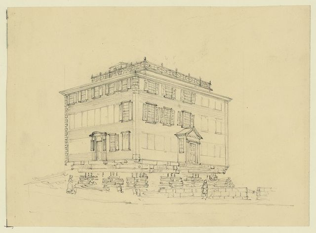 Sketch of a house in the streets at Boston Mass: being raised from its foundations for the purpsoe of permanent elevation