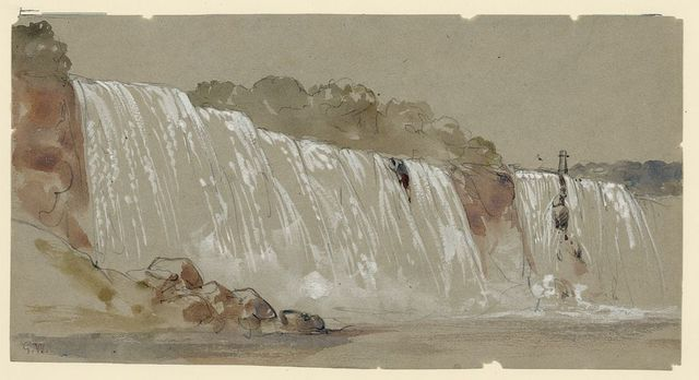 The American falls, Niagara, from the steamboat