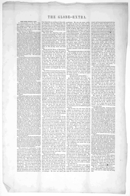 The Globe--- Extra. How some people live. A correspondent of the New York Daily Times, writing from Paris, mentions the calling or business by which some persons live there. We will copy a portion of his letter ... [Washington, D. C. 1853?].
