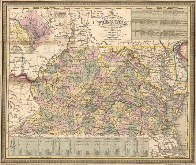 The tourist's pocket map of the state of Virginia : exhibiting its internal improvements, roads, distances &c. /