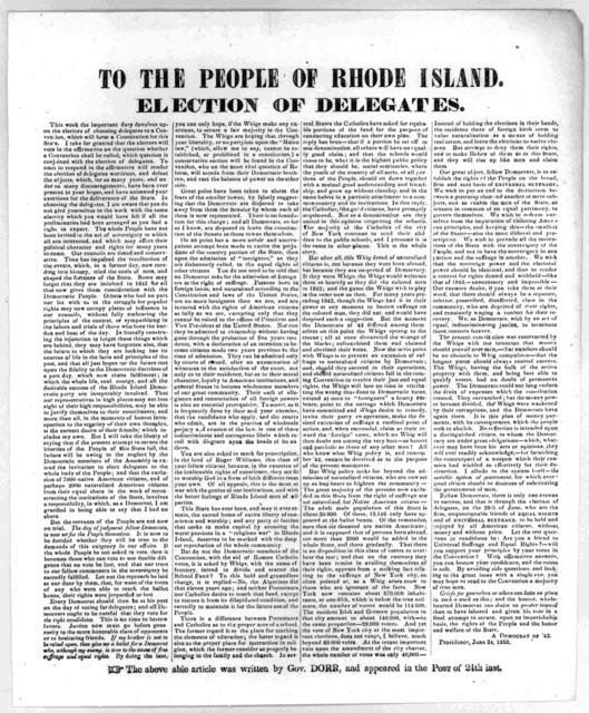 To the people of Rhode Island, Election of delegates ... A Democrat of '42. Providence June 24, 1853. The above able article was written by Gov. Dorr, and appeared in the Post of 24th inst.
