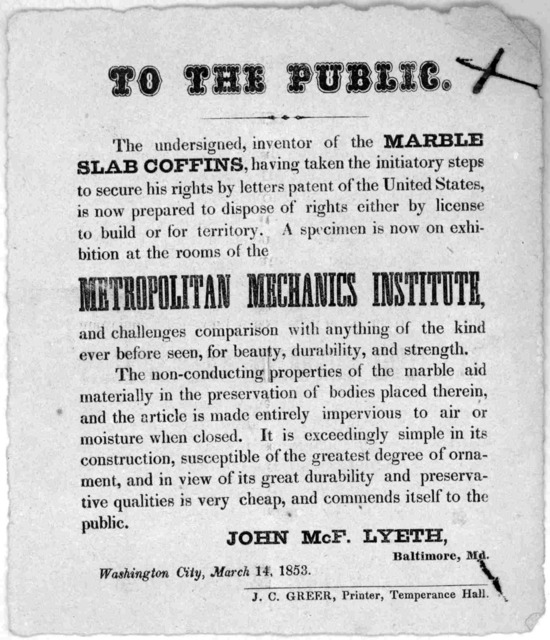 To the public. The undersigned, inventor of the marble slab coffins, having taken the initiatory steps to secure his rights by letters patent of the United States is now prepared to dispose of rights either by license to build or for territory.
