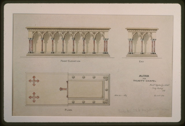 [Trinity Chapel (New York). Altar. Front and end elevations and plan. Rendering] / Richd Upjohn & Co. Archts, Trinity Building, N.Y.