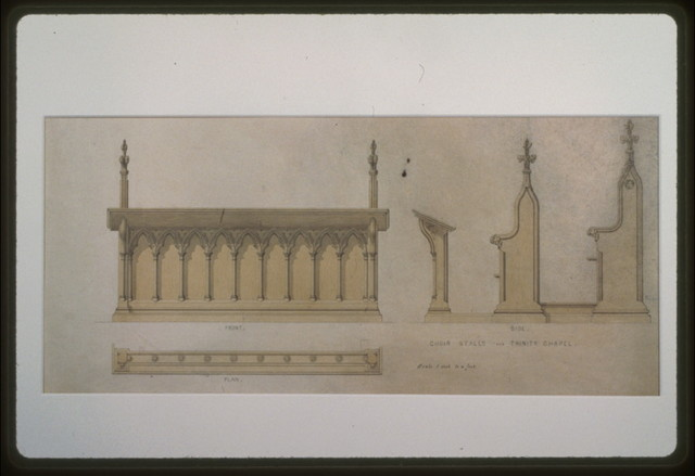 [Trinity Chapel (New York). Choir stalls. Elevations and plan. Rendering]