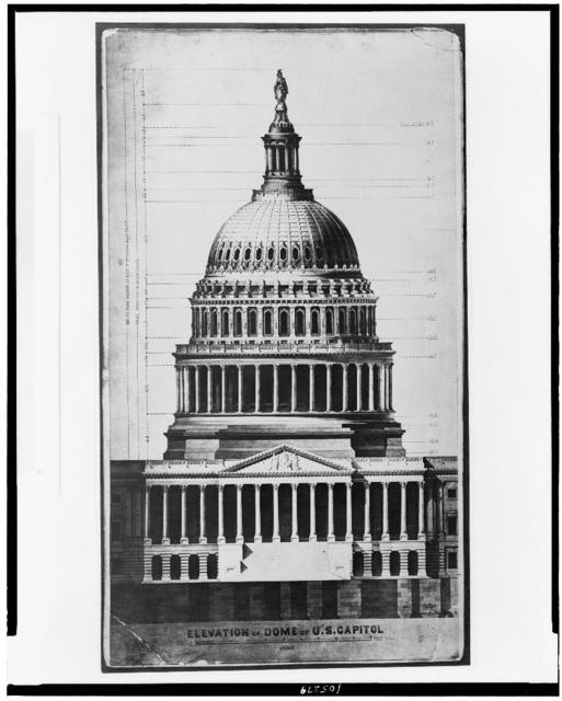 [United States Capitol (Washington, D.C.). Dome and portico. East front. Rendered elevation]. / Tho. U. Walter, architect of new dome & c.