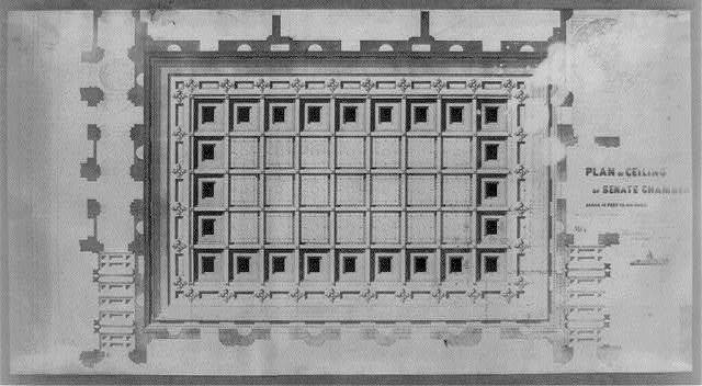[United States Capitol (Washington, D.C.). Extension. North Wing. Senate Chamber. Ceiling. Reflected plan rendering] / Tho. U. Walter, architect, extension, U.S. Capitol ; M.C. Meigs, capt. of engineers.