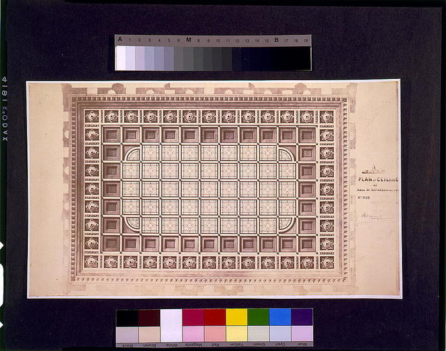 [United States Capitol (Washington, D.C.). Extension. South Wing. Hall of Representatives. Ceiling. Reflected plan rendering] / Tho. U. Walter, architect, extension, U.S. Capitol ; M.C. Meigs, capt. of engineers, in charge.
