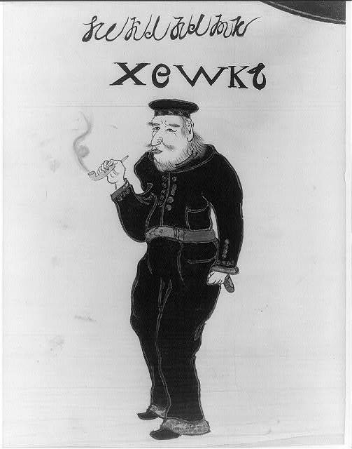 [U.S. Marine smoking pipe as drawn by Japanese artist]