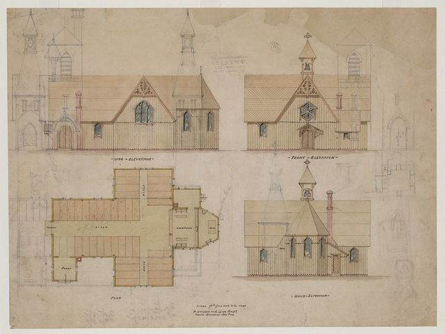 [Wood church with many added steeples] / R. Upjohn and son, archts.