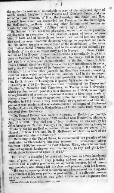 A brief sketch of the history of Lexington, Kentucky, and of Transylvania University : delivered as an introductory lecture to the winter course in the Medical Department of Transylvania University, on Monday evening, November 6th, 1854
