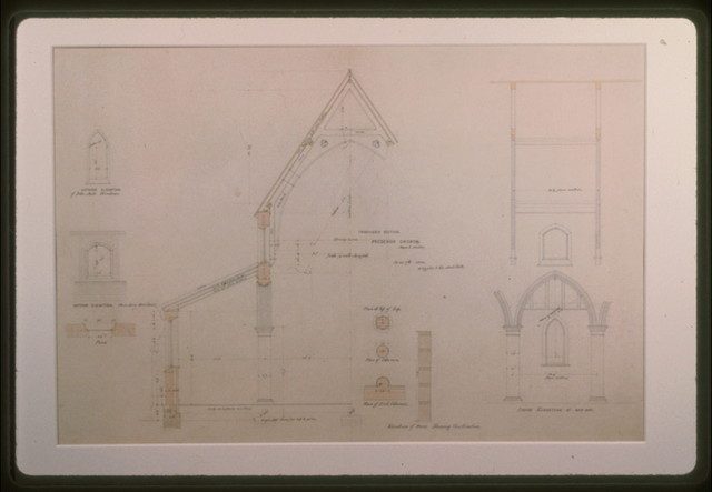 [All Saints Church (Frederick, Maryland). Elevations, plan, and section] / R. Upjohn & Co. Architects.