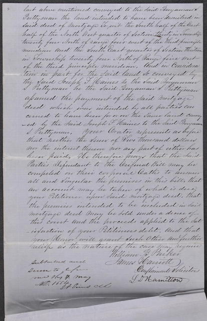 Amended Bill of Complaint in Hamilton v. Haines et al, [Law papers].