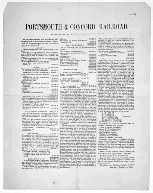 At the annual meeting held at Jefferson Hall in Portsmouth, on Wednesday afternoon, May 10, 1854 the following report was read by the President ....