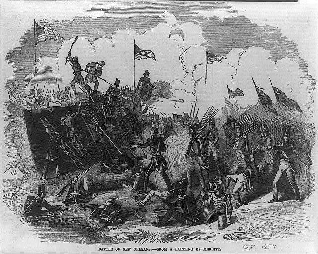 Battle of New Orleans - from a painting by Merritt