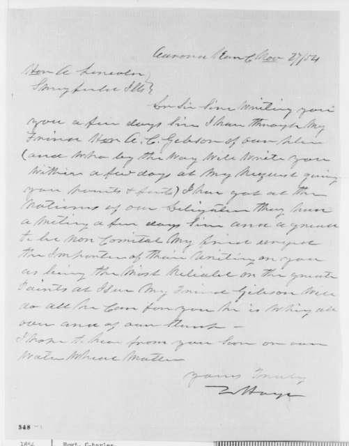 Charles Hoyt to Abraham Lincoln, Monday, November 27, 1854  (Senate)