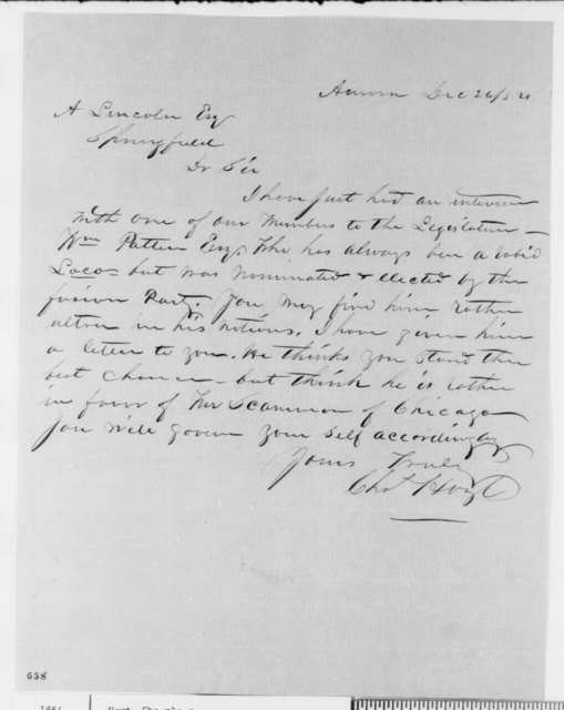 Charles Hoyt to Abraham Lincoln, Tuesday, December 26, 1854  (Senate)
