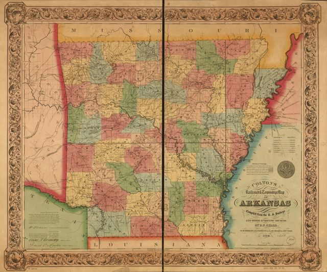 Colton's railroad & township map of Arkansas compiled from the U.S. Surveys and other authentic sources.
