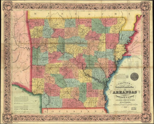 Colton's railroad & township map of Arkansas complied from the U.S. Surveys and other authentic sources.