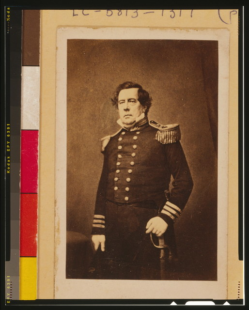 [Commodore Matthew C. Perry, three-quarter length portrait, standing, facing slightly left with left hand resting on sword]