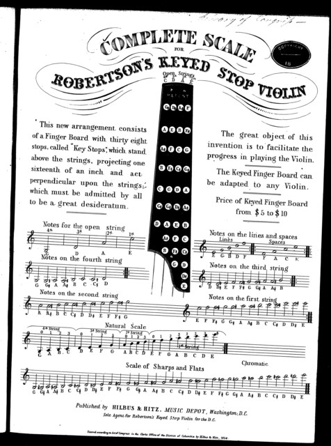Complete scale for Robertson's keyed stop violin
