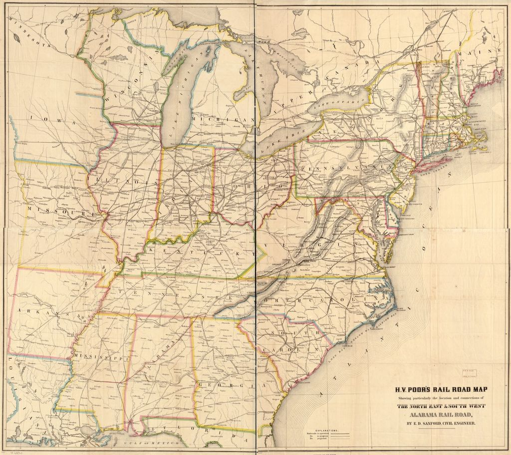 H. V. Poor's rail road map showing particularly the location and connections of the North East & South West Alabama Rail Road, by E. D. Sanford, Civil Engineer.