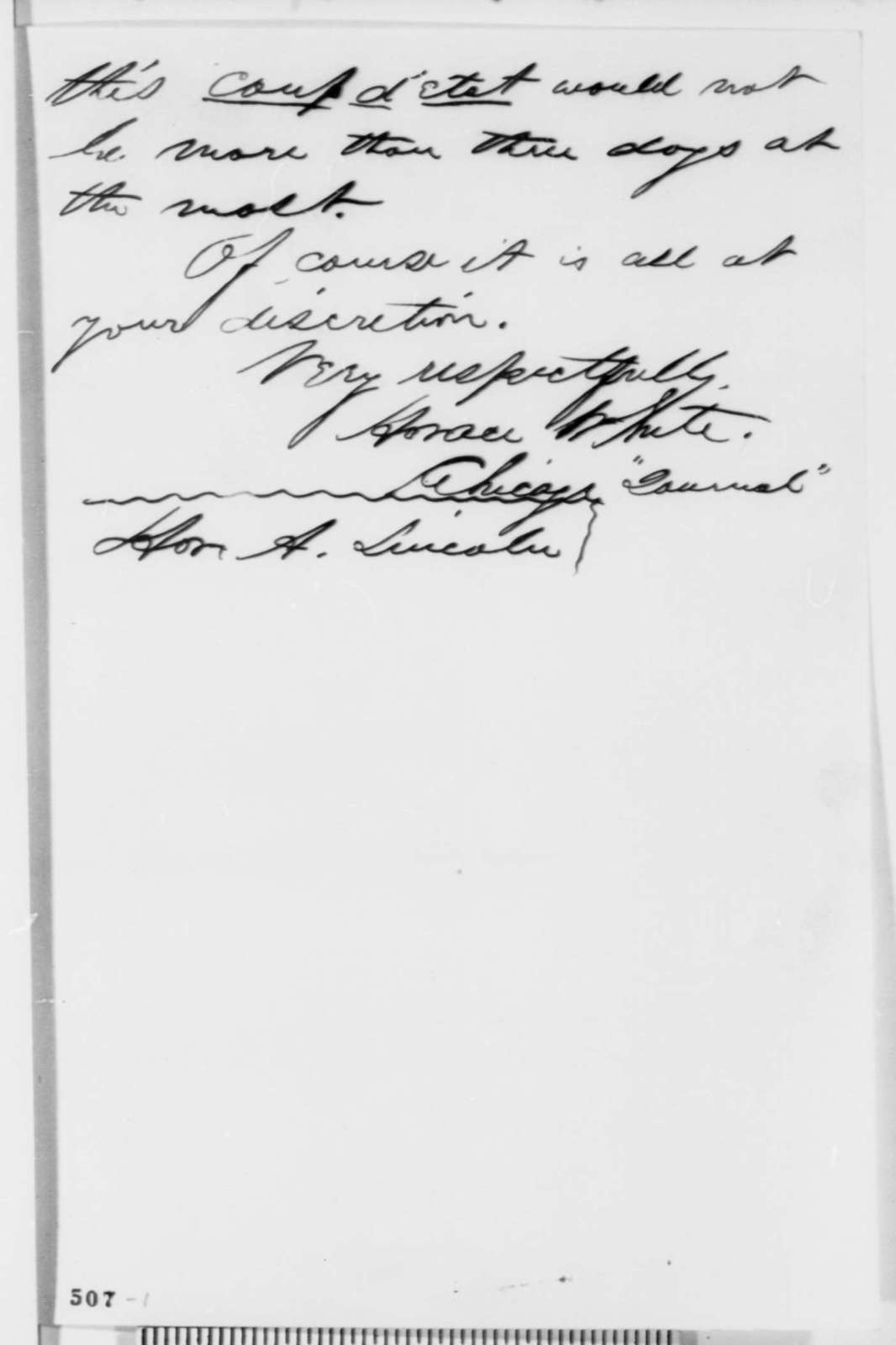 Horace White to Abraham Lincoln, Wednesday, October 25, 1854  (1854 election)