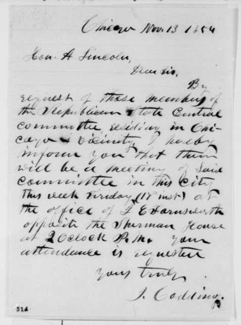 Ichabod Codding to Abraham Lincoln, Monday, November 13, 1854  (Republican organization)