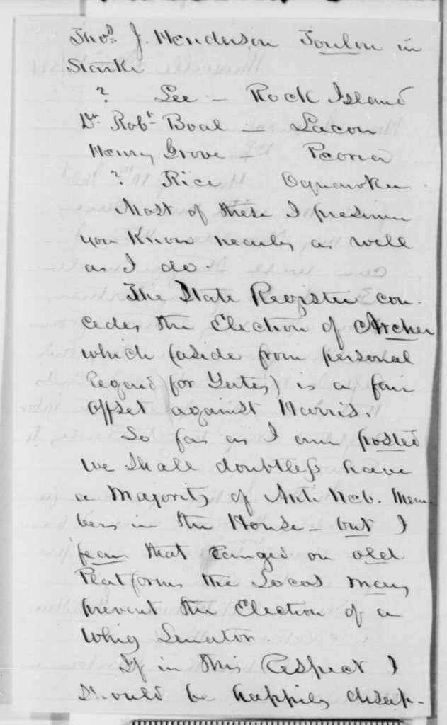 James Knox to Abraham Lincoln, Friday, November 17, 1854  (1854 election)