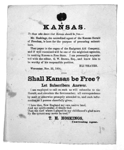 Kansas. To those who desire that Kansas should be free ... Worcester, Nov. 22, 1854.