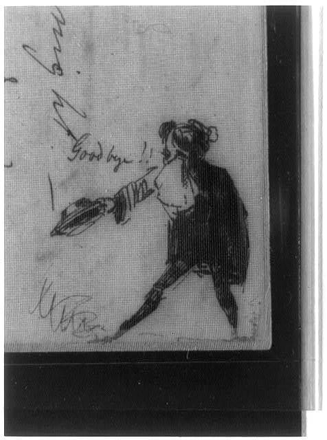 "[Letter with eleven humorous sketches, from Whistler to Paul, headed ""Baltimore, Sunday night -- am (Down -- derry down)""]"