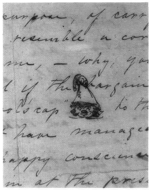 """[Letter with eleven humorous sketches, from Whistler to Paul, headed """"Baltimore, Sunday night -- am (Down -- derry down)""""]"""