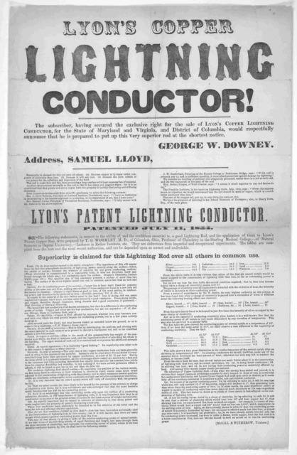 Lyon's copper lightning conductor! The subscriber. having secured the exclusive right for the sale of Lyon's Copper lightning conductor! The subscriber, having secured the exclusive right for the sale of Lyon's Copper lightning conductor, for th