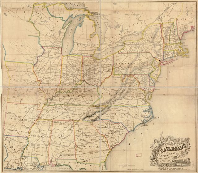 Map of all the railroads in the United States in operation and progress.