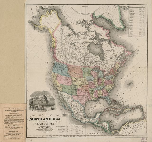 Map of North America from the latest authorities, showing the proposed railroad routes from the Atlantic to the Pacific Oceans /