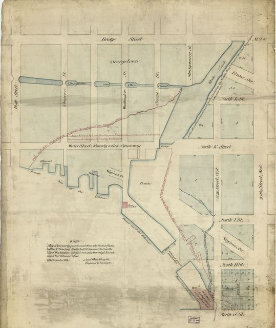 Map of property purchased from the United States by Wm. T. Dove, Esq., south half of square no. 3 in the city of Washington : colored red, also the origl. boundary of the Potomac River /
