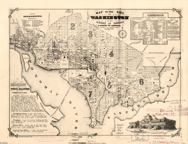 Map of the city of Washington in the District of Columbia, U. States of America.